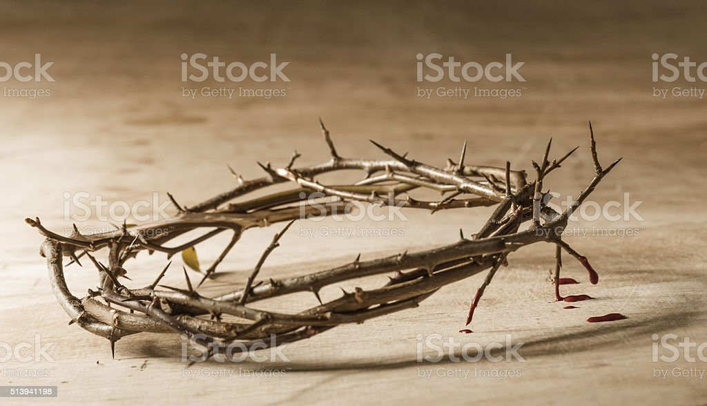 Crown of thorns with blood dripping. Christian concept of suffer stock photo