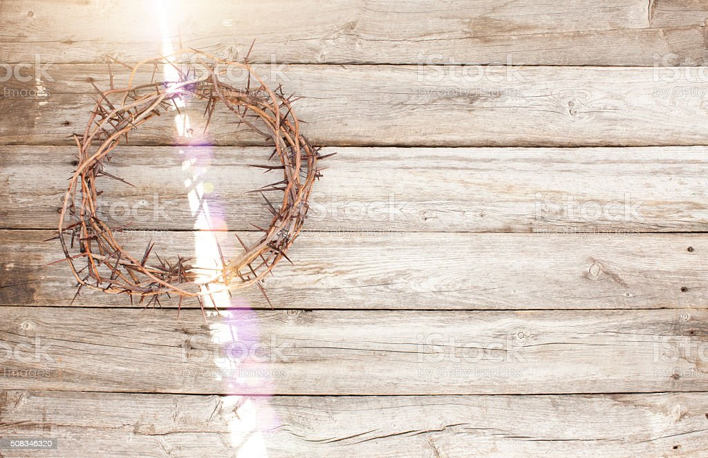 Crown of Thorns with Light Flare stock photo