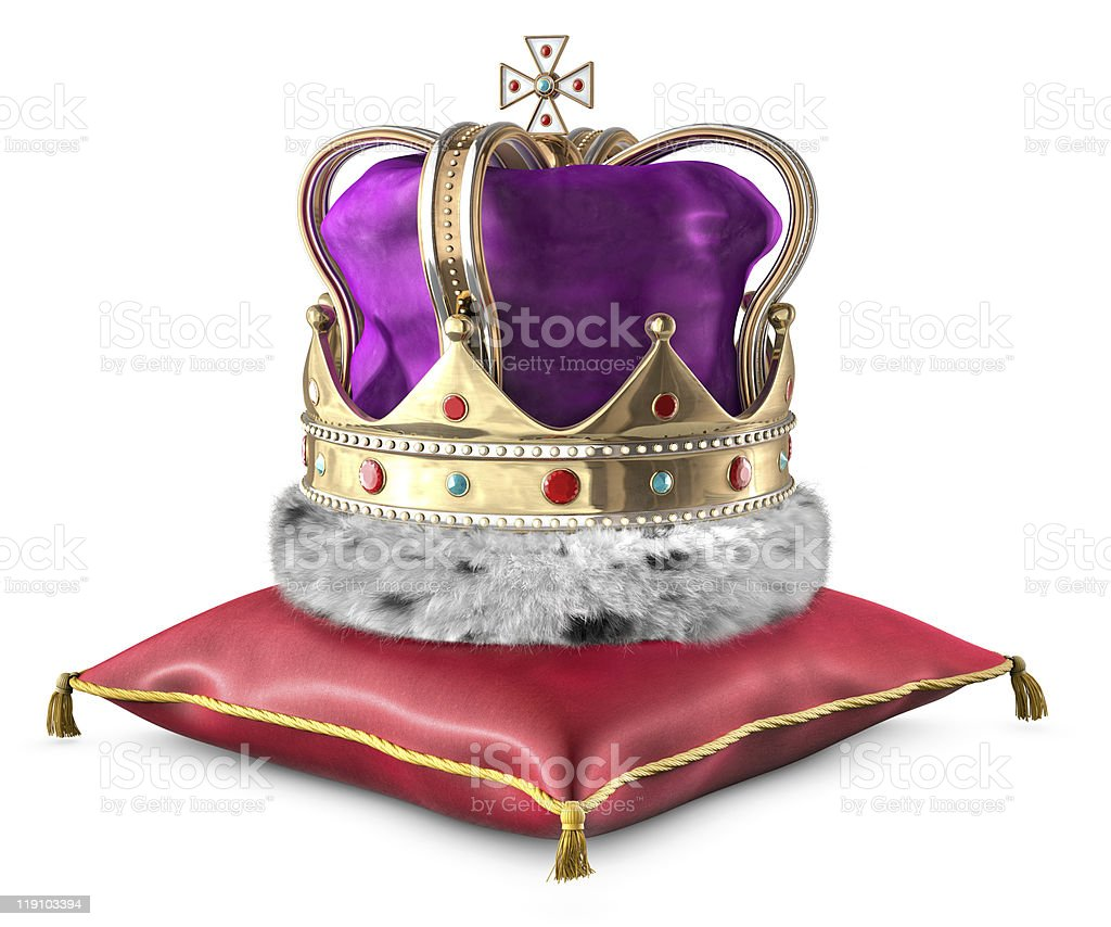 Crown on pillow stock photo