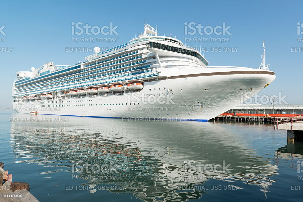 Crown Princess Cruise Ship Reflections at Dock stock photo