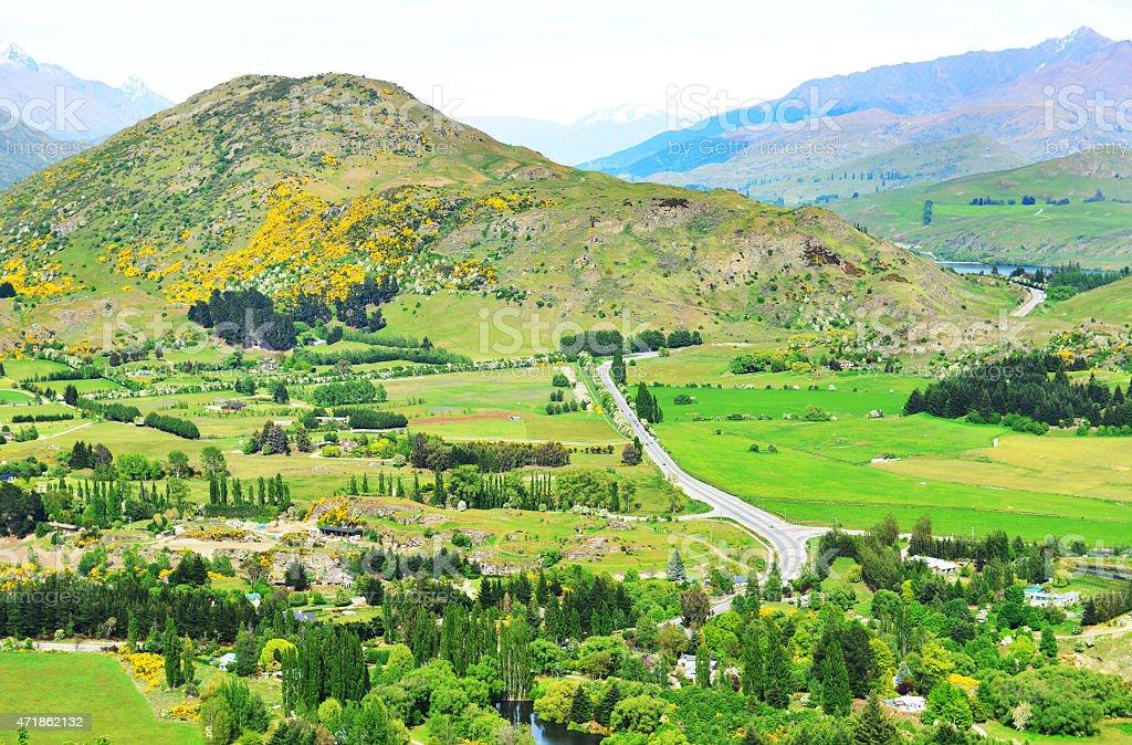 Crown Range road stock photo