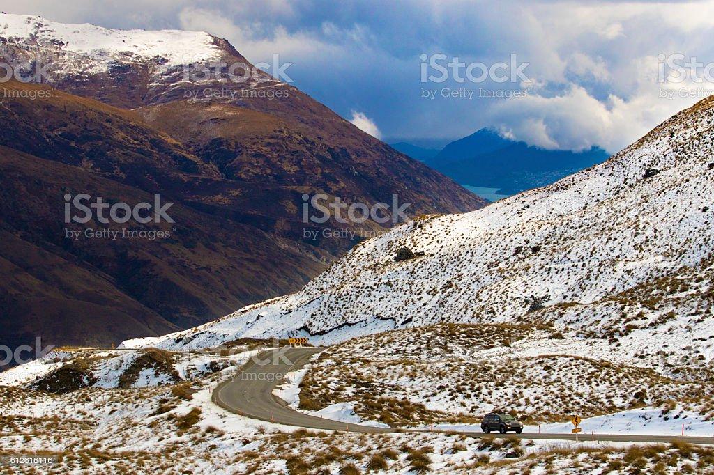 crown range road wanaka to queenstown new zealand stock photo
