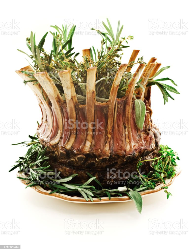crown roast of lamb stock photo