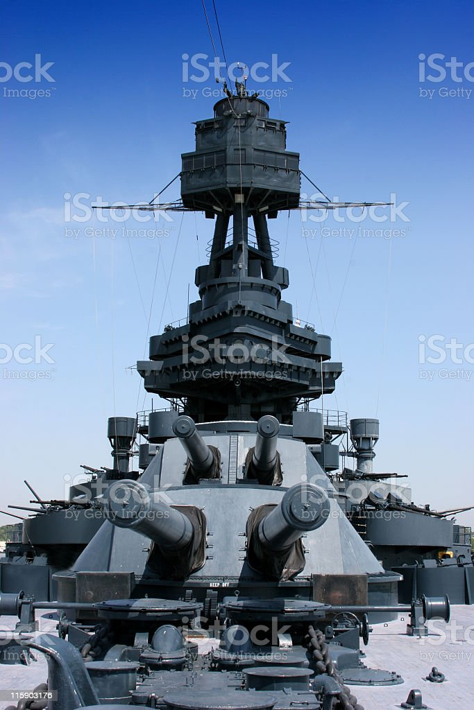 Crows Nest and big guns on Battleship Texas stock photo