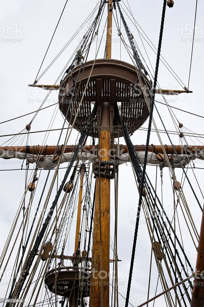 Crow's Nest on a Sailing Ship stock photo