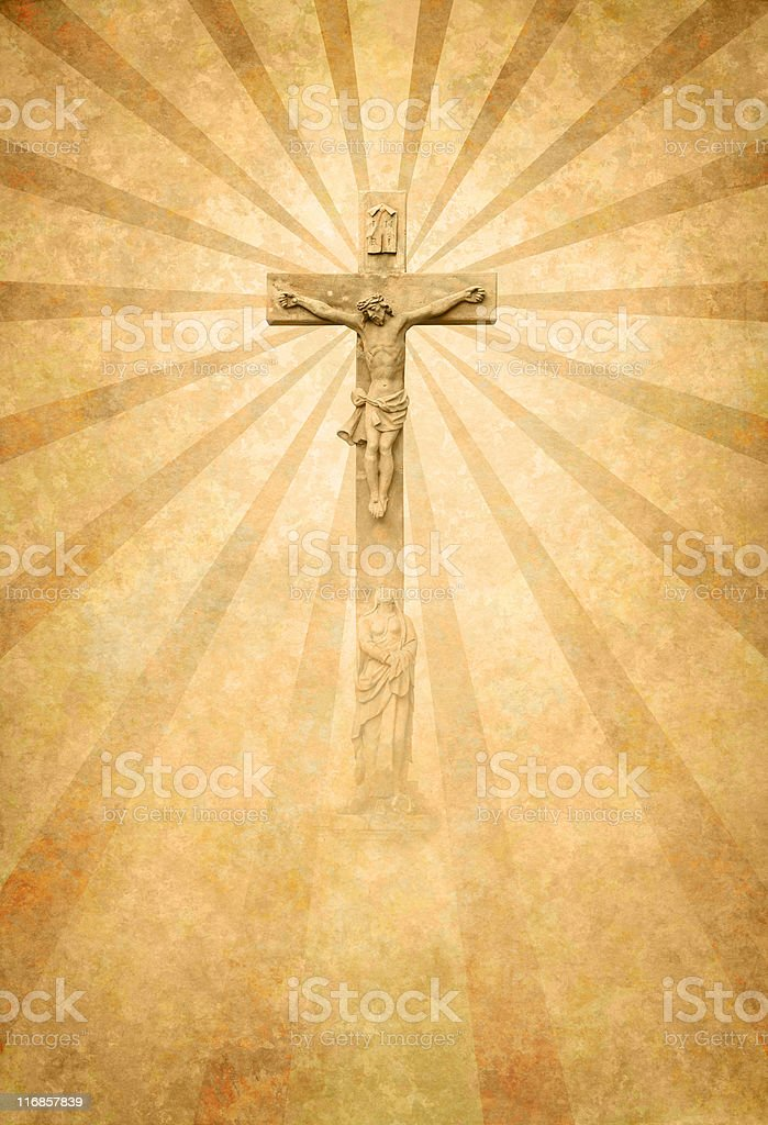 crucifiction with sunrays royalty-free stock photo