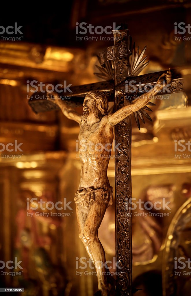 crucified christ sculpted on ivory royalty-free stock photo