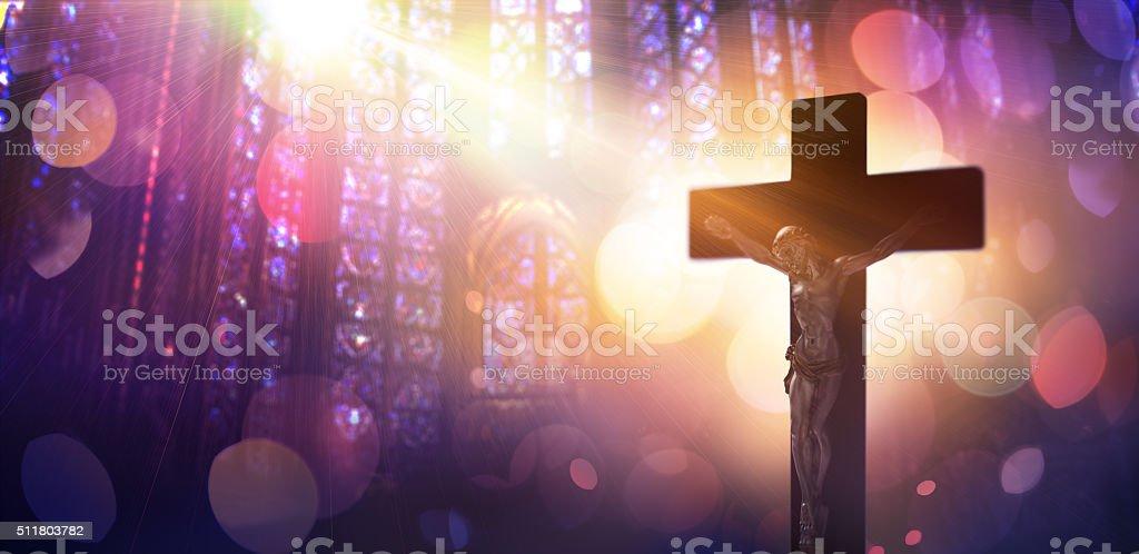 Crucified Christ - Symbol Of Catholic Faith stock photo