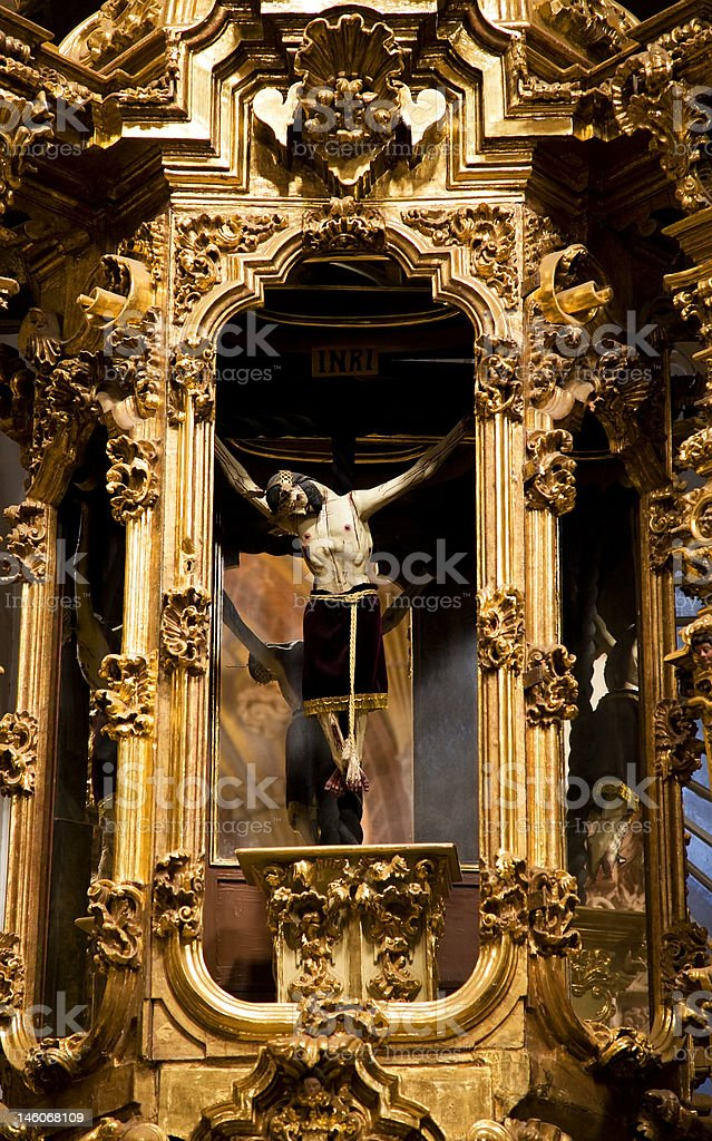 Crucified Jesus Hanging from Cross Altar Valencia Church Mexico royalty-free stock photo