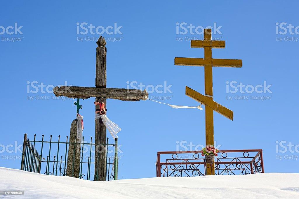 Crucifix and orthodox cross. royalty-free stock photo