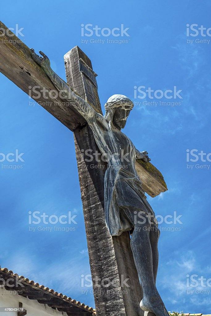 Crucifix at Mission San Miguel Arcangel royalty-free stock photo