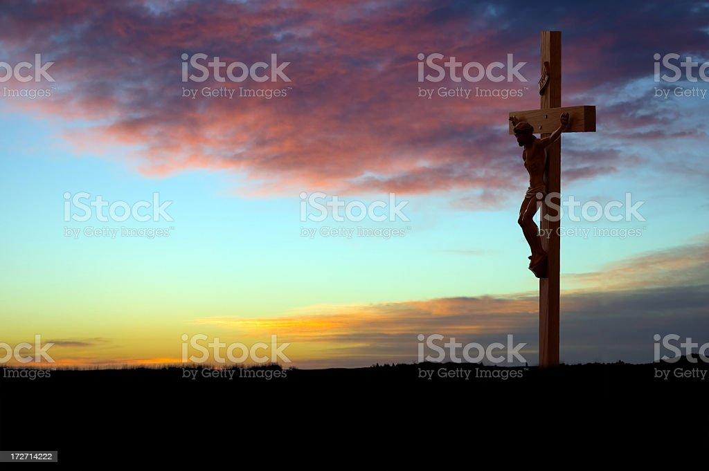 Crucifix at Sunrise stock photo