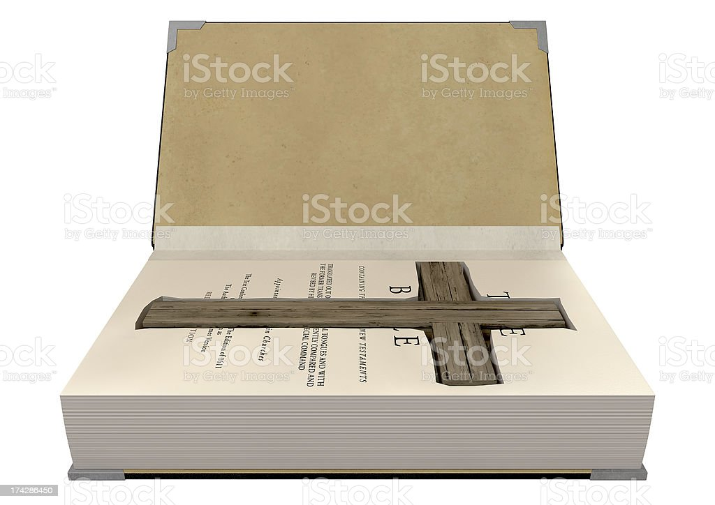 Crucifix Concealed In A Bible royalty-free stock photo