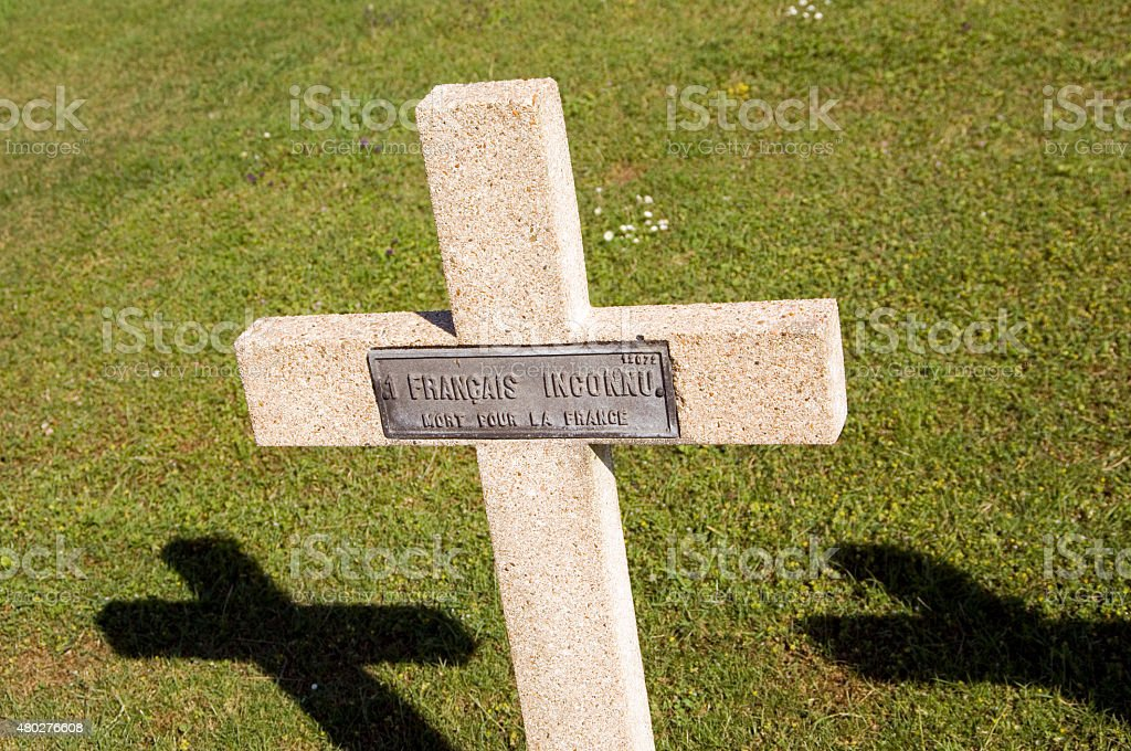 Crucifix grave of unknown soldier, Verdun France stock photo