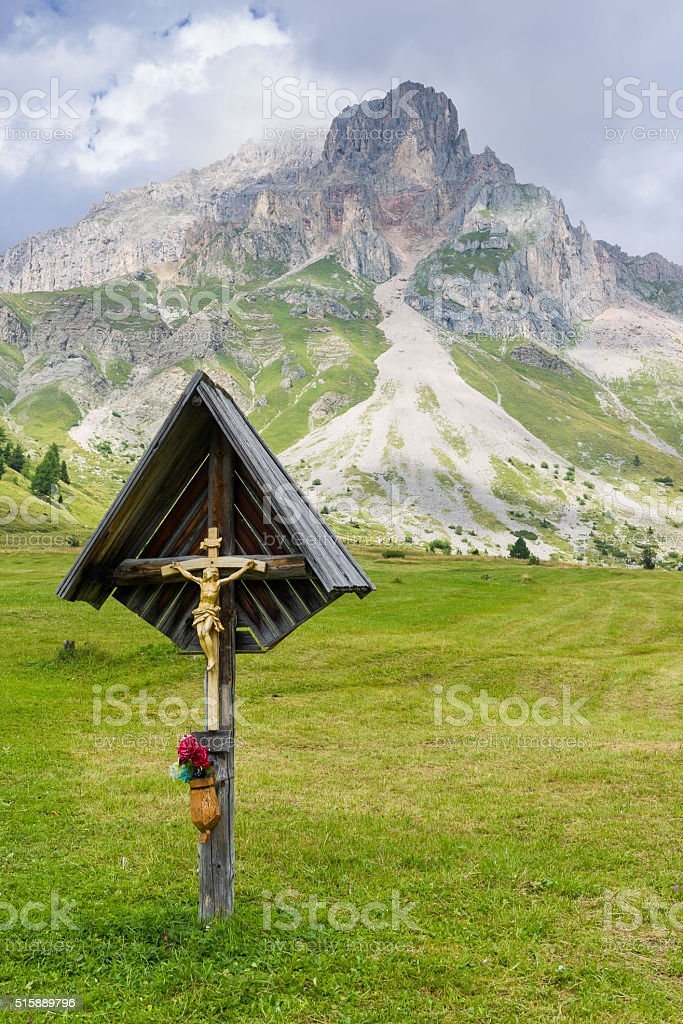 Crucifix in the meadows stock photo