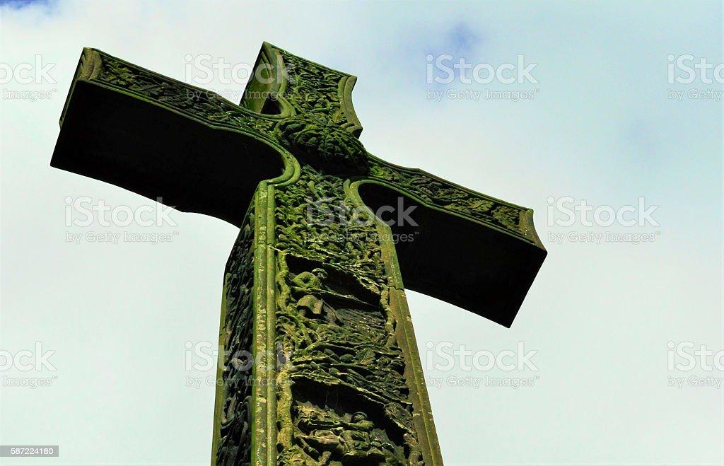 Crucifix Monument, Cloudy Sky, Close-up, Durham, England stock photo