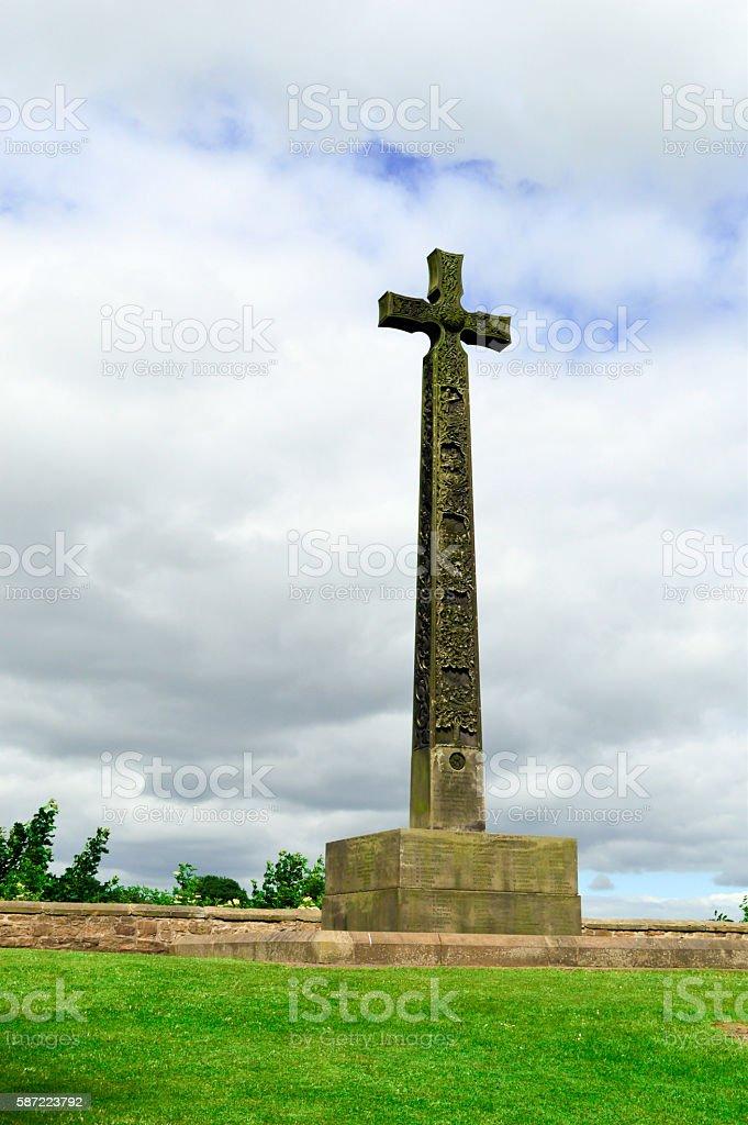 Crucifix Monument, Cloudy Sky, Durham, England stock photo