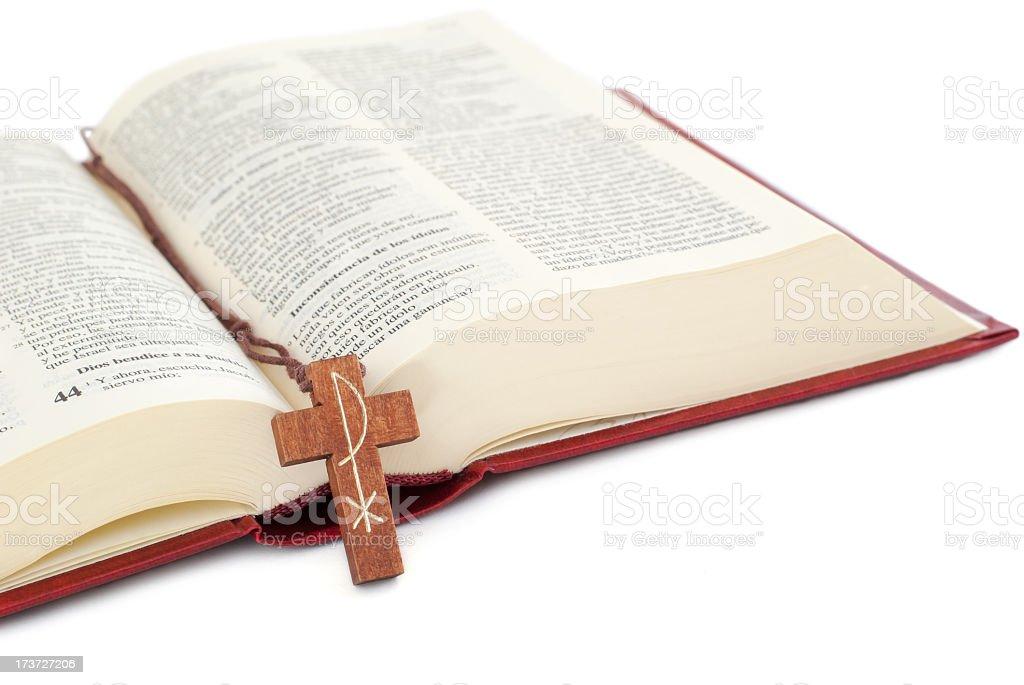 Crucifix on a Bible royalty-free stock photo