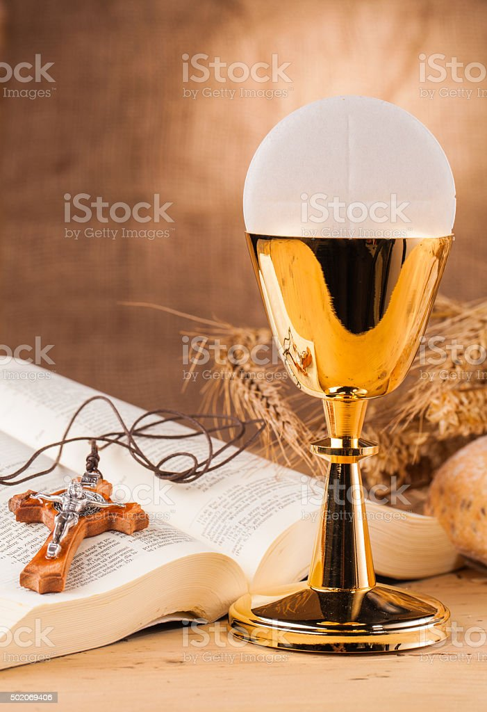 crucifix on holy communion stock photo