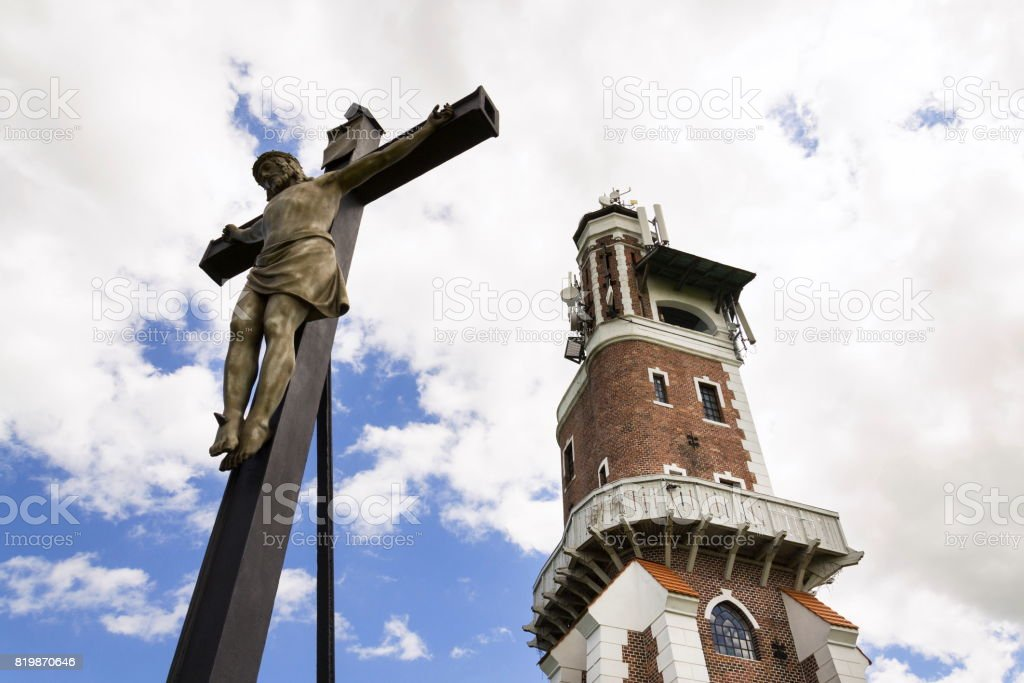 Crucifix with Schillers Lookout near Kryry, Czech republic stock photo