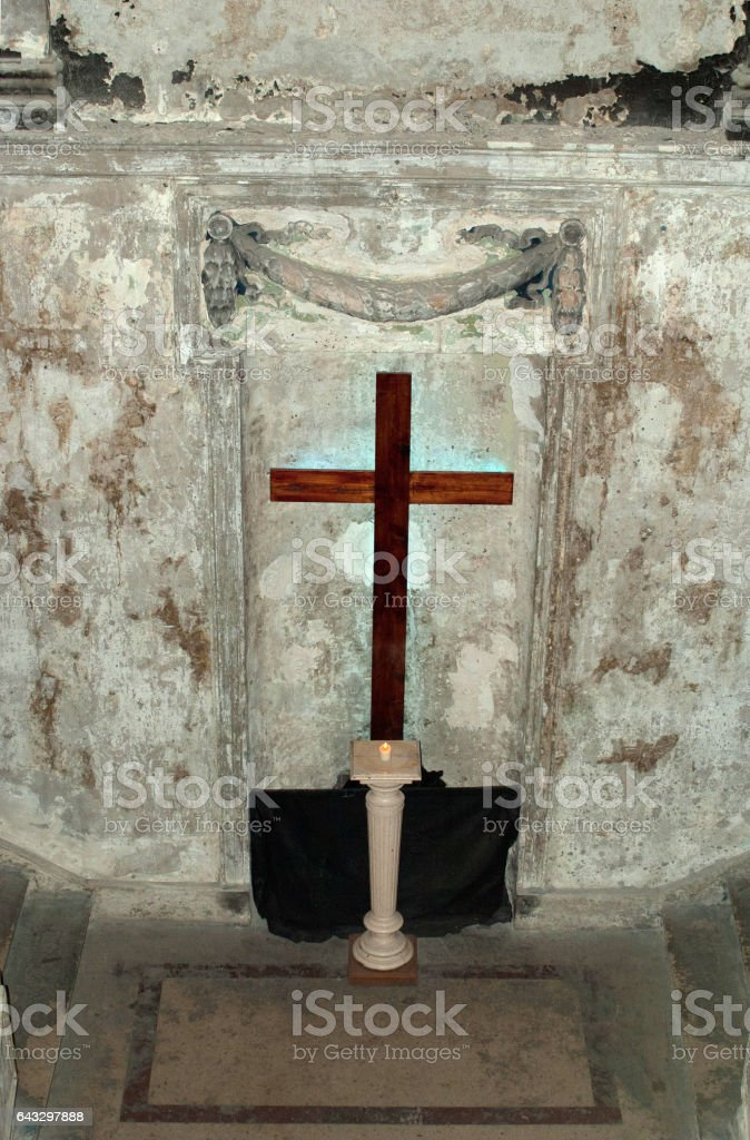 Crucifixion in the Church stock photo