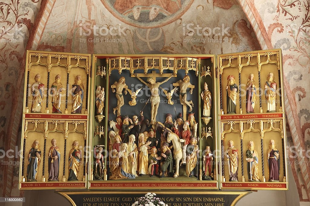 Crucifixion of Christ in beautiful, ancient triptych royalty-free stock photo