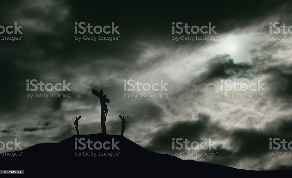 Crucifixion of Jesus on Golgotha With Copy Space stock photo
