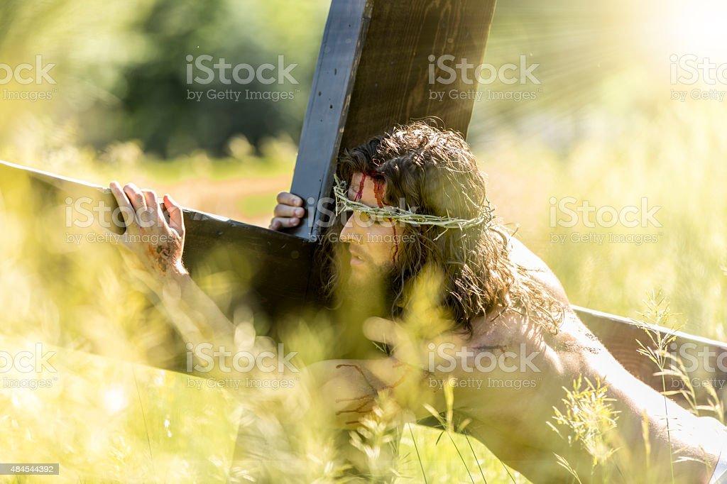 Crucifixion of Jesus with Divine Light stock photo