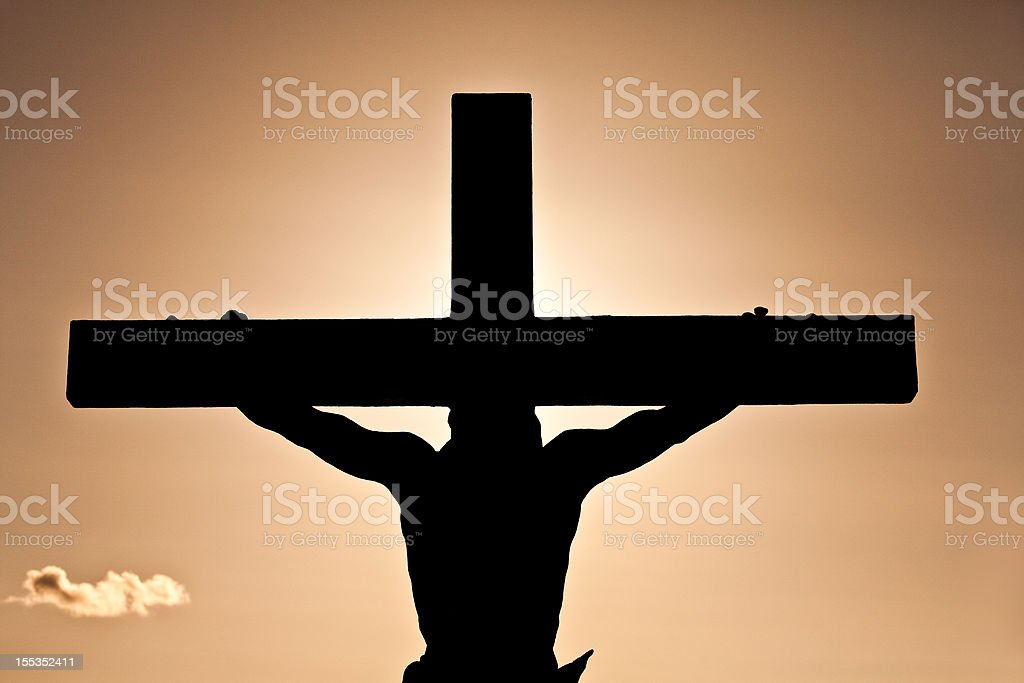 Crucifixion or Easter Silhouette stock photo
