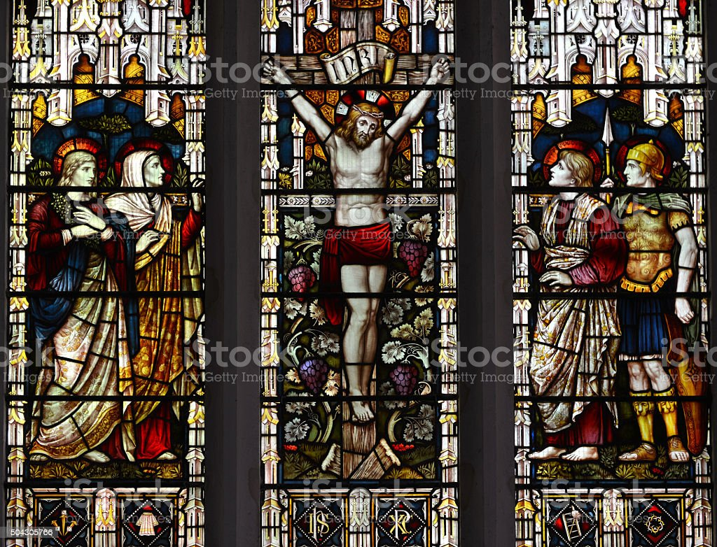 Crucifixion window stock photo