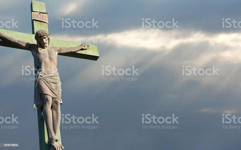 Crucifixion with dark sky royalty-free stock photo