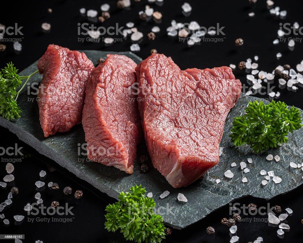 Crude beef stock photo