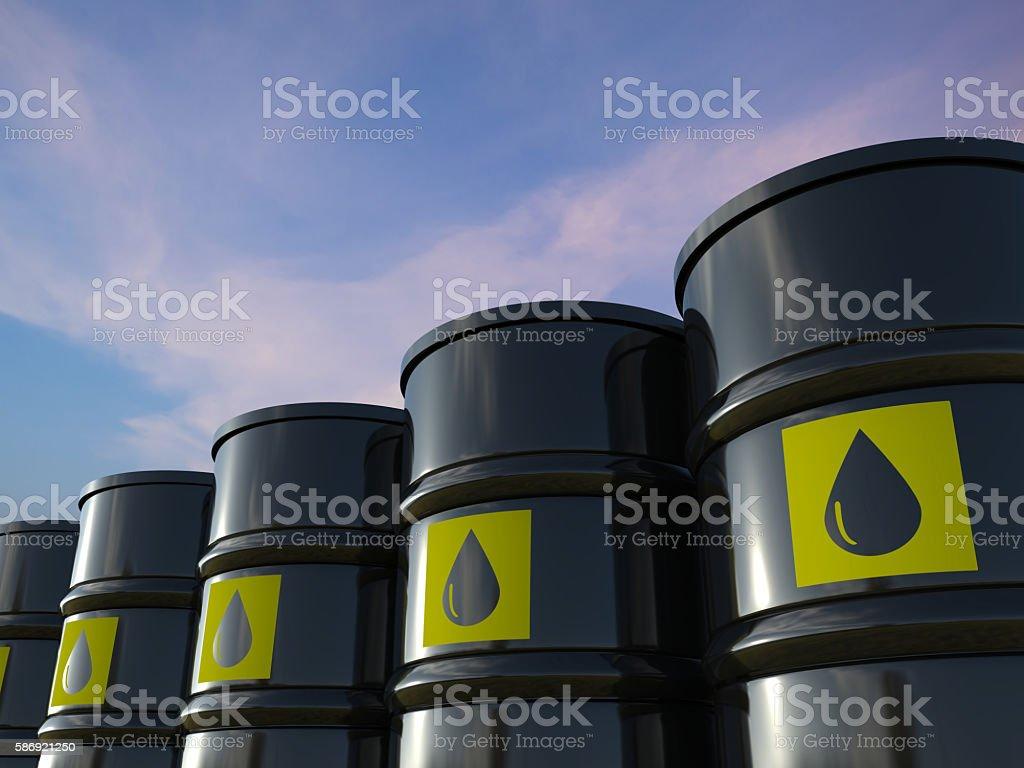 crude oil barrels stock photo