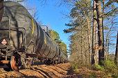 Crude Oil Freight Train on Siding