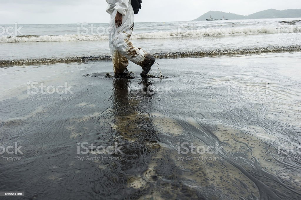 crude oil on Ao Prao Beach at Samet island royalty-free stock photo