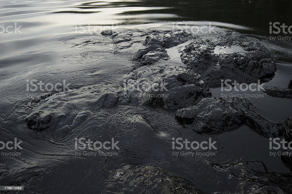 crude oil spill on Ao Prao Beach at Samet island royalty-free stock photo
