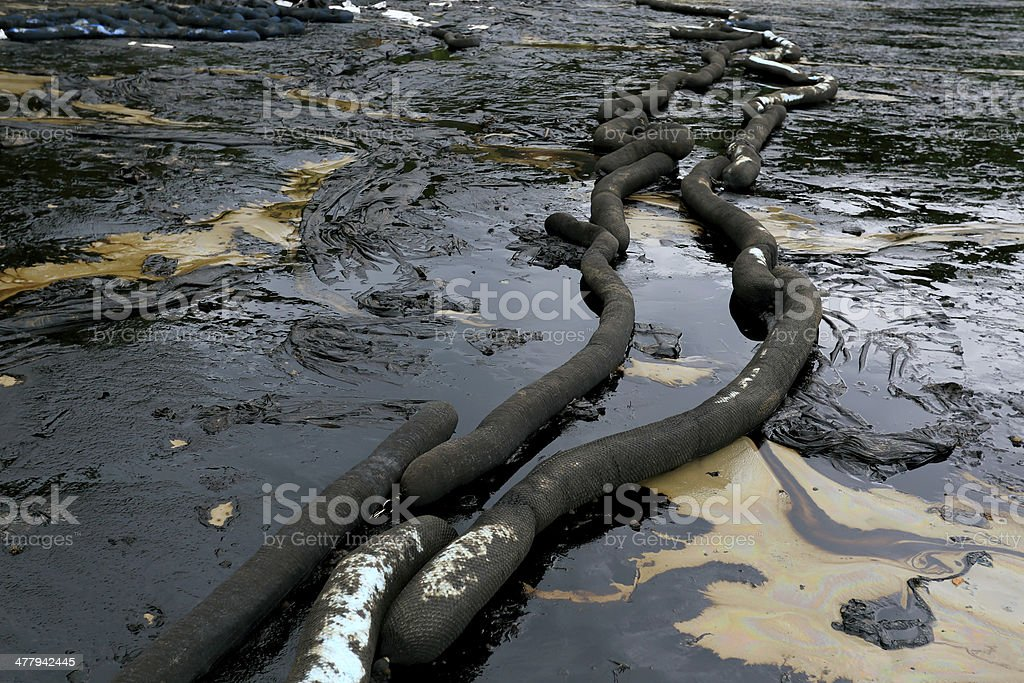 crude oil spill on the beach royalty-free stock photo