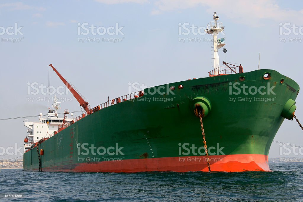 Crude Oil Tanker Front Bow's View stock photo