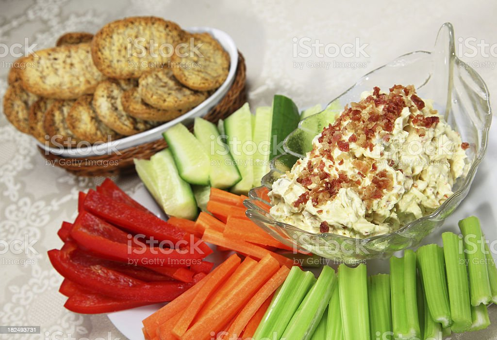 Crudités and Bacon Cheese Dip stock photo