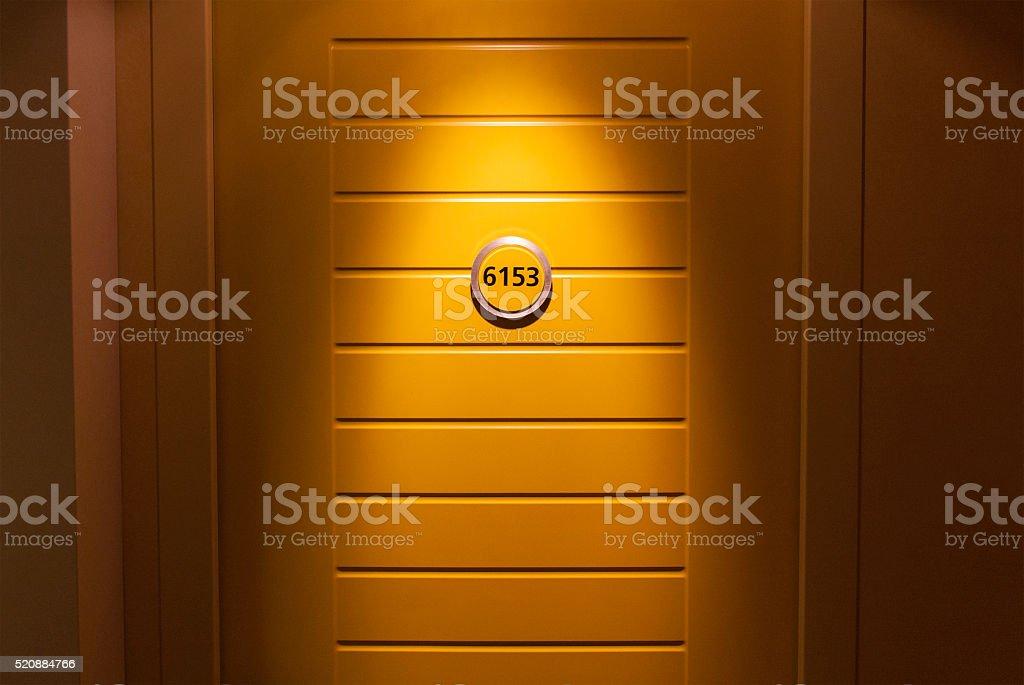 Cruiase ship cabin door stock photo