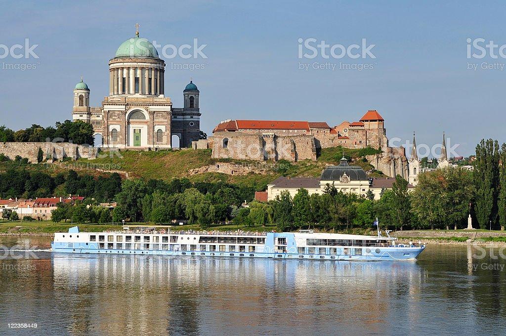 Cruise and The Basilica Esztergom,Hungary stock photo