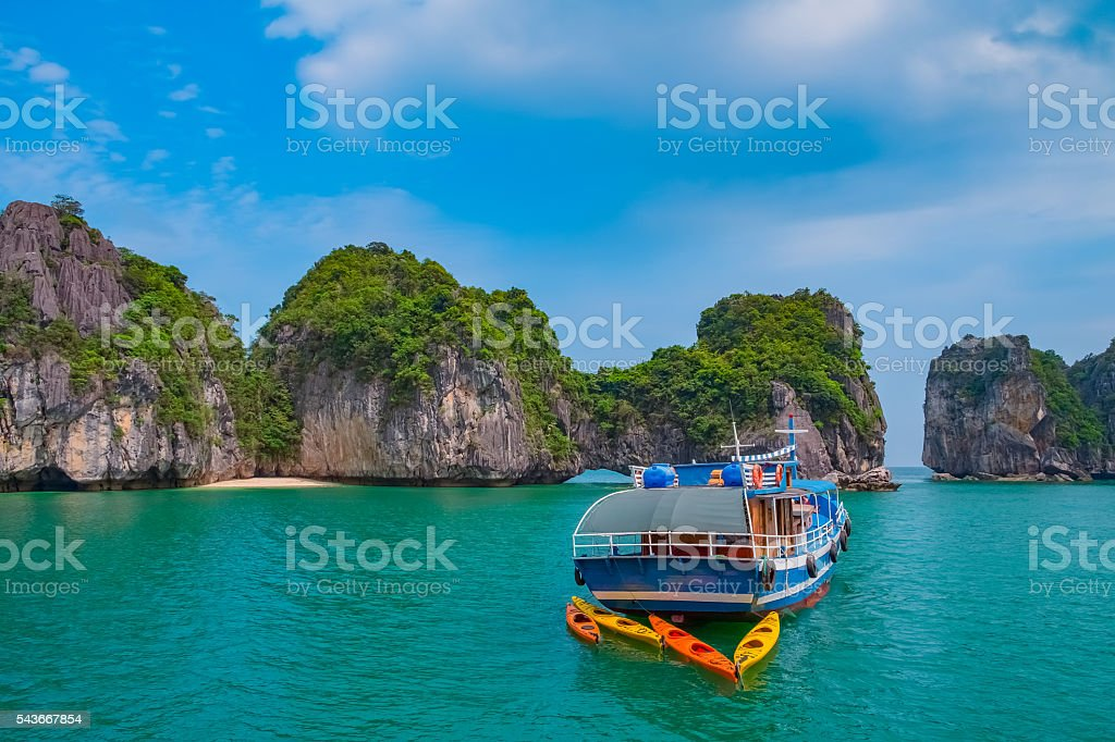 Cruise boat in Halong Bay, Vietnam, Southeast Asia stock photo