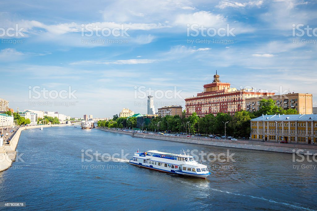 Cruise boat on Moscow river stock photo