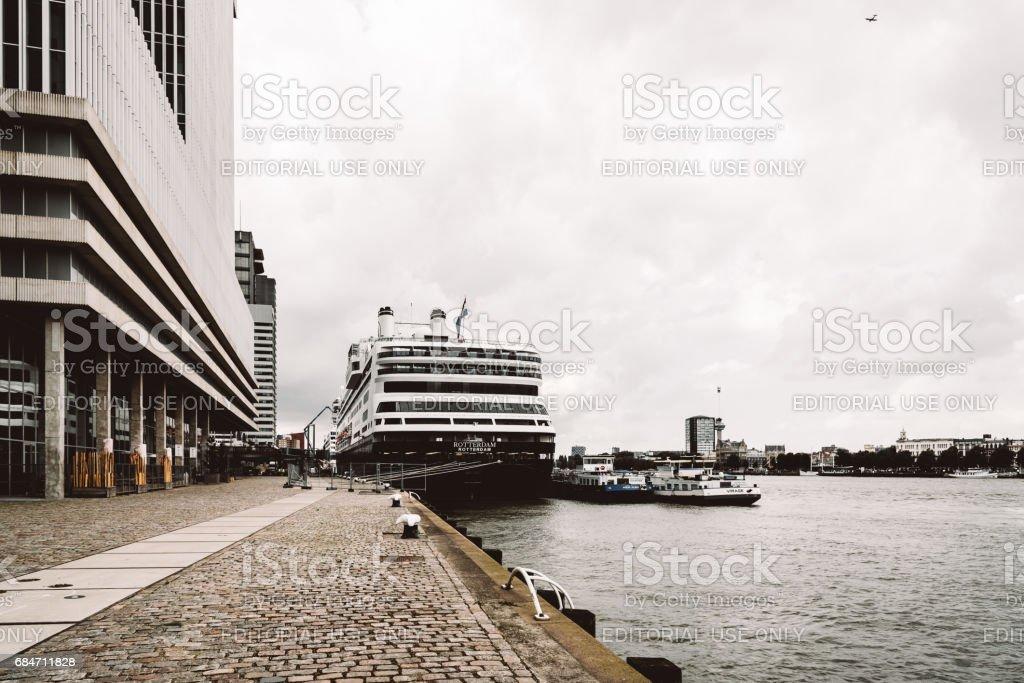 Cruise in the harbor of Rotterdam stock photo
