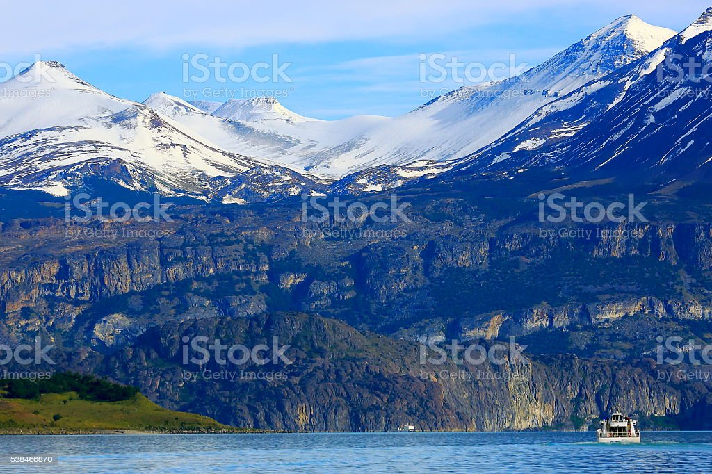 Cruise journey into Lake Argentina, snowcapped mountains and glaciers, Patagonia stock photo