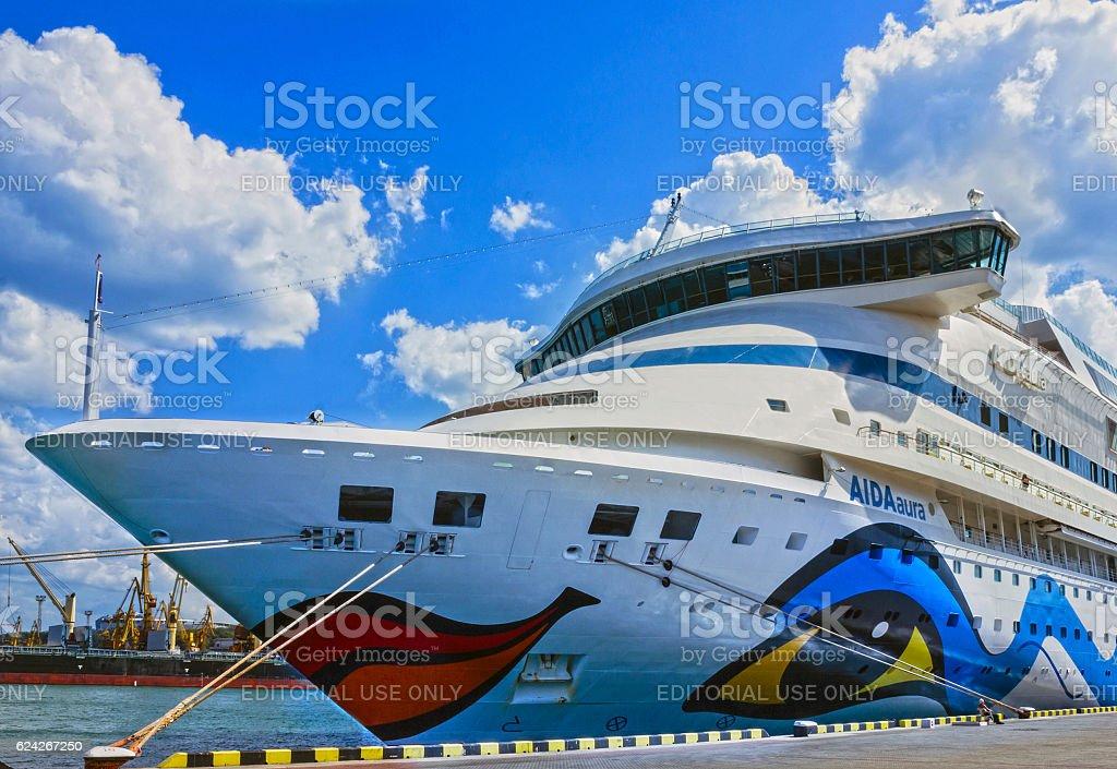 Hamburg, Germany - July 22, 2013: Cruise liner Aida Aura stock photo