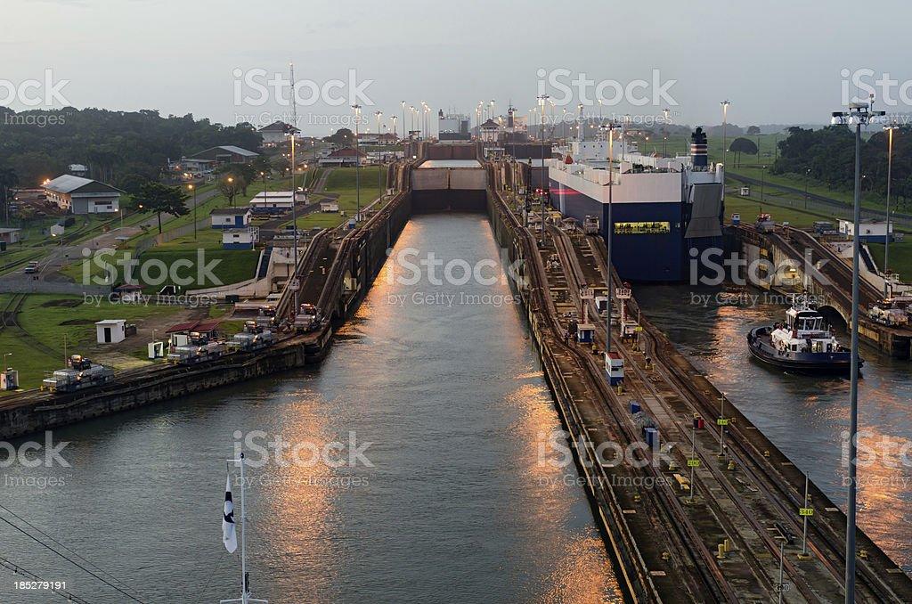 Cruise Liner approaching Gatun Lock at Dawn stock photo