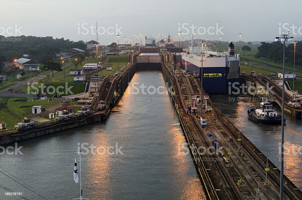 Cruise Liner approaching Gatun Lock at Dawn stock photo