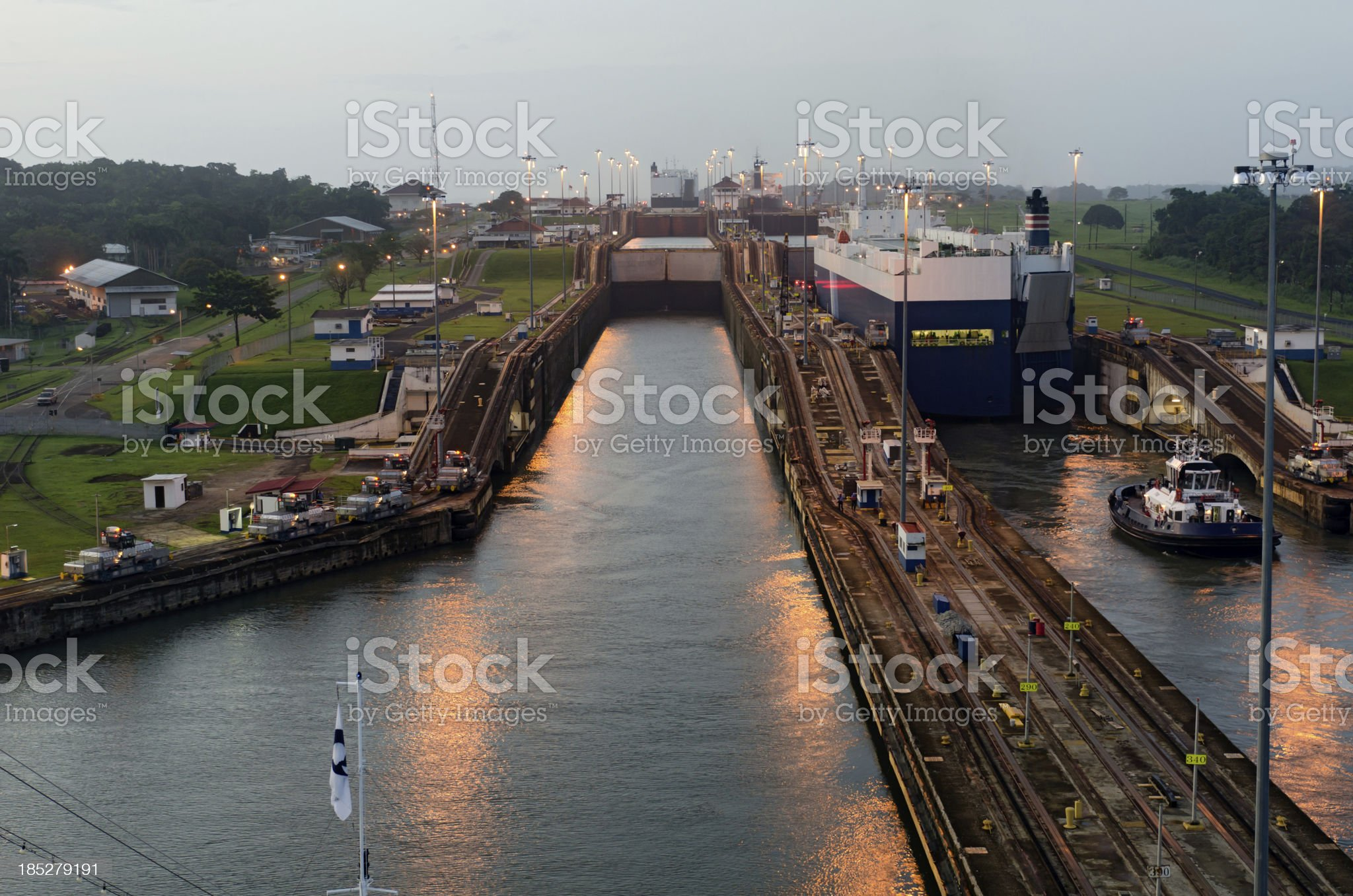Cruise Liner approaching Gatun Lock at Dawn royalty-free stock photo