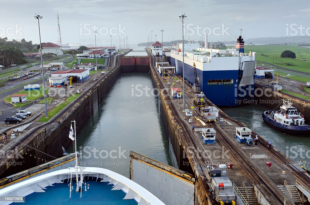 Cruise Liner approaching Gatun Lock Panama Canal stock photo